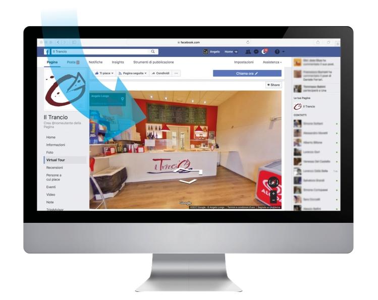 il Trancio, Virtual Tour su Facebook + schermo e freccia