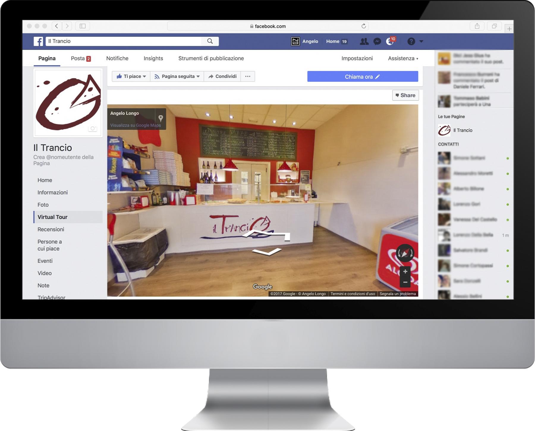 il Trancio, Virtual Tour su Facebook + schermo