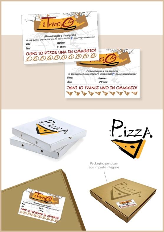 Tessera fedeltà e packaging per pizza